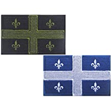 HFDA 2 piece Canada Flag Patch - Tactical Combat Bagde Military Hook and Loop Badge Embroidered Velcro Morale Patch (Quebec, Canada)