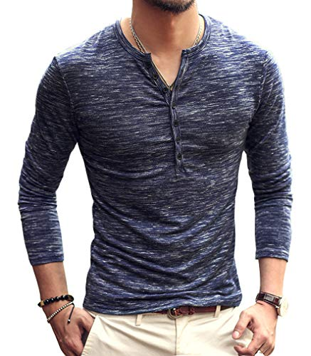 AITFINEISM Mens Casual Slim Fit Basic Henley Long Sleeve T-Shirt (Medium, Blue) -