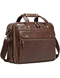 Leather Briefcase for Men Computer Bag Laptop Bag Waterproof Retro Business Travel Messenger Bag for Men Large Tote 15.6 Inch Brown