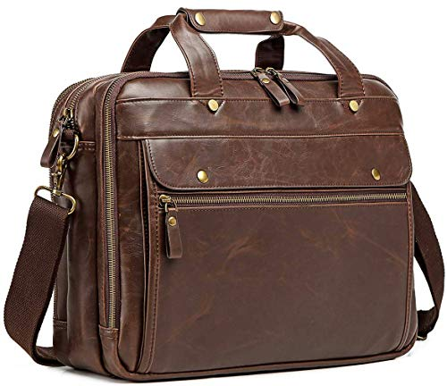 Leather Briefcase for Men Computer Bag Laptop Bag Waterproof Retro Business Travel Messenger Bag for Men Large Tote 15.6 Inch Husband Gifts (Brown)