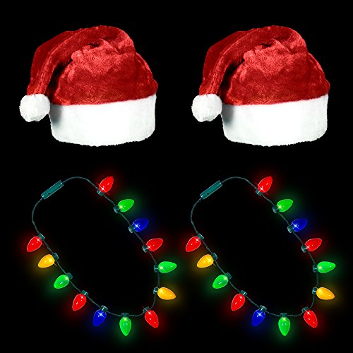 Ugly Sweater Christmas Party Kit - (2) Pack Plush Santa Hats + (2) Pack LED Christmas Necklace (Red Santa Hat + Necklace) by Windy City Novelties (Image #1)