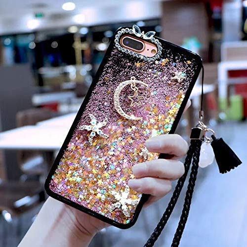 Amocase Liquid Hard Case with 2 in 1 Stylus for Samsung Galaxy S10 Plus,Luxury 3D Moon Stars Bling Glitter Quicksand Soft Rubber Bumper Crystal Case with Hand Wrist Strap - Pink