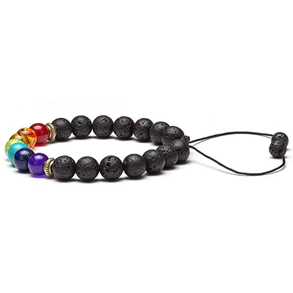 1pc 7 Chakra Bracelet de gu/érison avec de Vraies Pierres d/énergie Volcanique Bracelet Cadeau pour Homme Bijoux et Les Femmes Pierre volcanique