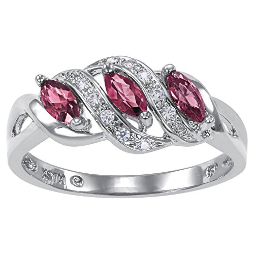 ArtCarved Heart Charm Simulated Ruby Birthstone Women's Ring, Sterling Silver, Size 7 ()
