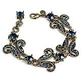 Blue Swarovski Crystal Art Deco Vintage Hollywood Crystal Bracelet