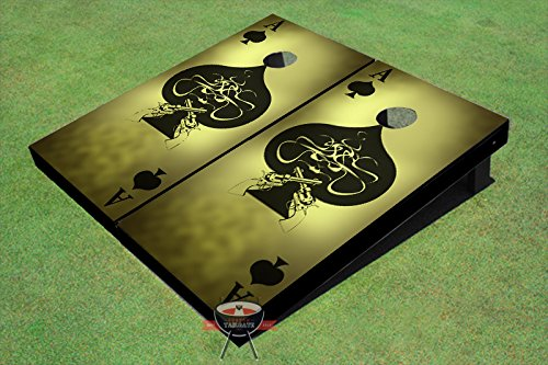 Ace of Spades Grunge Theme Corn Hole Boards Cornhole Game Set by All American Tailgate