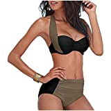 MineSign Color Block Bikini Swimsuit for Women Fashion 2 Pieces Underwire Top High Waist Bottom