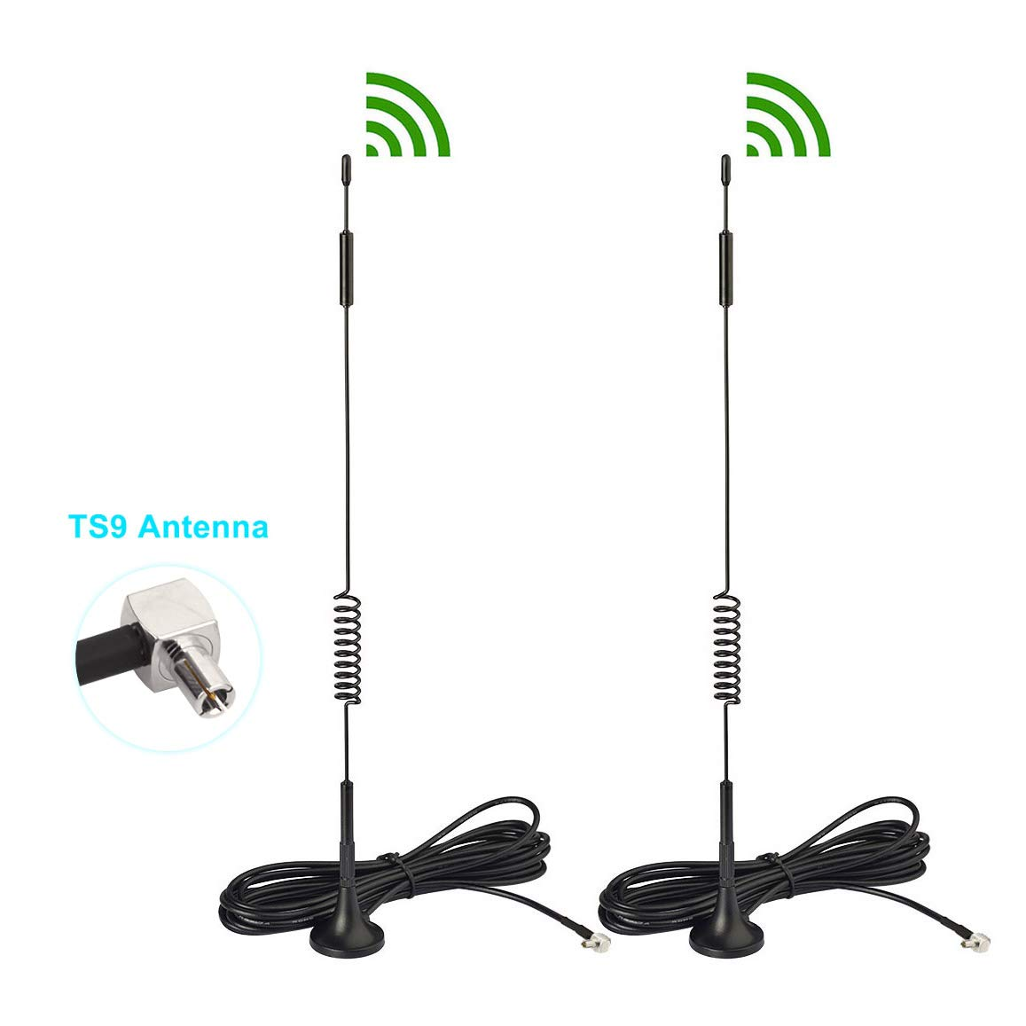 Bingfu 4G LTE 7dBi Magnetic Base External TS9 Antenna (2-Pack) Compatible with Verizon AT&T T-Mobile Sprint Netgear Huawei MiFi Mobile Hotspot Router USB Modem Jetpack AirCard AC791L AC815S AC770S by Bingfu