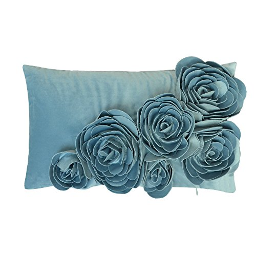 Suede Floral Pillow (JW 3D Handmade Rose Flowers Accent Pillow Cases Velvet Decorative Cushion Covers Home Sofa Car Decor Pillowslips Rectangular 12 x 20 Inch Teal Blue)