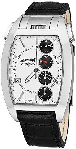 Eberhard   Co Chrono 4 Temerario Mens Stainless Steel Automatic Chronograph Watch   Tonneau White Face Black Leather Band Casual Swiss Watch For Men 31047 8