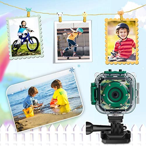 [Upgraded] PROGRACE Kids Camera Waterproof Action Video Digital Camera 1080 HD Camcorder for Boys Toys Gifts Build-in…