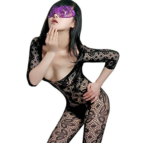 kilofly Sexy Sheer Open Crotch Bodystocking, Black, Leaves, with G-string