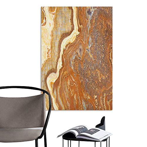 Canvas Wall Art Marble Unique Earthen Toned Mother Earth Natural Travertine Structures Display Cinnamon Earth Yellow Home Decor W32 x H48 - Coco Natural Stick Frame