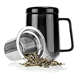 Tealyra Peak Ceramic Tea Mug with Stainless Steel Infuser and Lid, 500ml (Black)