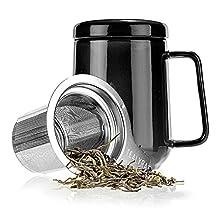 Tealyra Peak Ceramic Tea Mug with Stainless Steel Infuser and Lid, 500ml (Black)