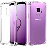 Samsung Galaxy S9 Case, MoKo Crystal Clear TPU Bumper Cushion Cover with Reinforced Corners, Anti-scratch Hard PC Transparent Back Panel for Samsung Galaxy S9 5.8 Inch - Crystal Clear
