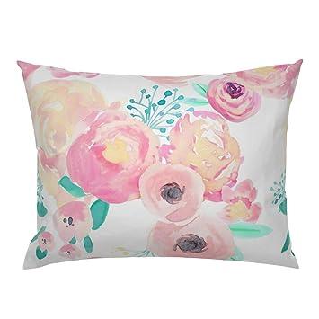 Amazon.com: Floral flores flor de rosa rosa teal borde de ...