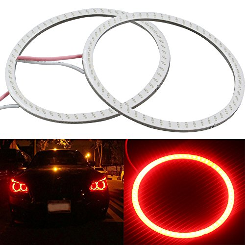 Everbright 2-Pack【 110MM, 4.3″,12V Red Car Angel Eye 】 COB Light Halo Circle Ring Head Light Lamp for BMW Benz Headlight