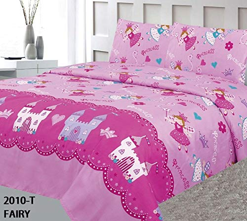 Sapphire Home Three (3) Piece Twin Size Princess Fairy Castle Kingdom Theme Print Sheet Set with Fitted, Flat and 1 Pillow Case, Hot Pink Girls Kids Bedding Sheet Set (Disney Fairies Bedding Twin)