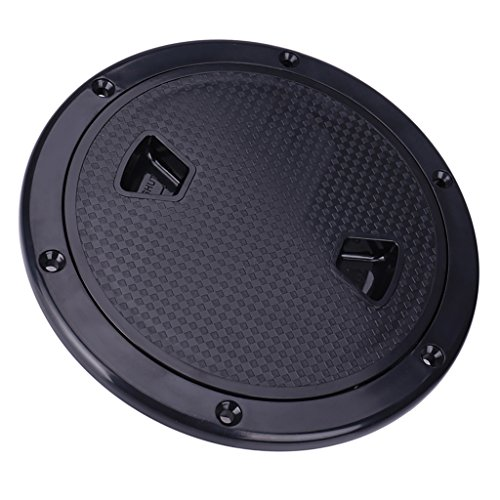 Dovewill Marine Boat RV 4'' 6'' 8'' Round Inspection Hatch Cover Screw Out Deck Plate - Black, 4inch