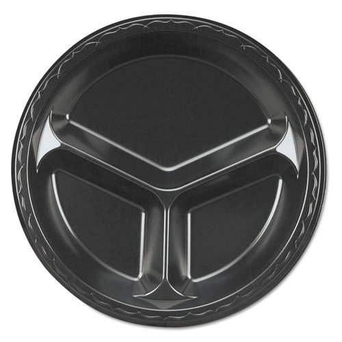 - Genpak Elite Laminated Foam Plates, 10 1/4 in., Black, Round, 3 Compartments, 125/Pack - Includes four packs of 125 each.