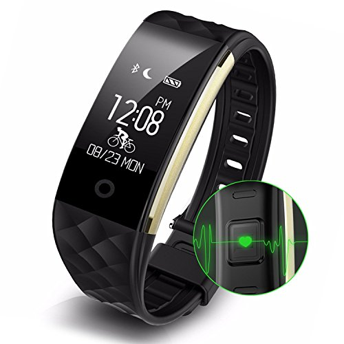 Fitness Tracker, Sendcool Waterproof Bluetooth 4.0 OLED Touch Screen Smart Wristband, Heart Rate and Sleep Monitor Activity Tracker for Iphone,Samsung and other Android smartphone (BLACK) by Landcold