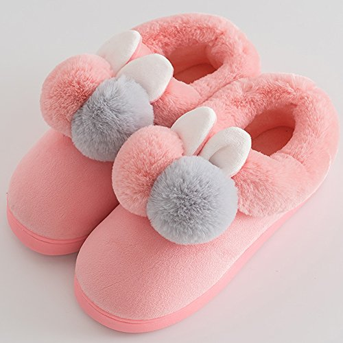 en Chaussures Pink Chaudes Homme Cute Pantoufles Femme en Hiver Slippers Chausson Peluche B8WcH