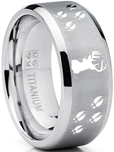 9MM Sating Finish / High Polish Deer Track Titanium Ring Wedding Band, Outdoor Jewelry, Men's Hunting Ring SZ 10