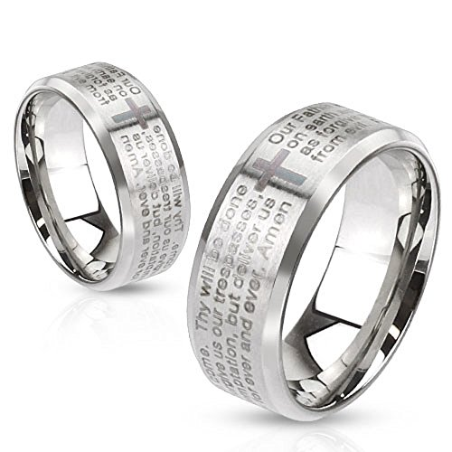 - Artisan Owl Lord's Prayer Laser Etched Brushed Finish Stainless Steel Ring with Cross (8)