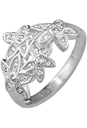 Sterling Silver Four Pave Cubic Zirconia Flowers Ring