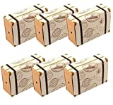 Amajoy 50pcs Mini Suitcase Vintage Wedding Favor Box with Kraft Card and Burlap Twine for Wedding Party Birthday Party Baby Shower Travel Themed Party Favor