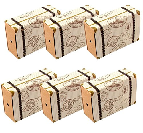 Amajoy 50pcs Mini Suitcase Vintage Wedding Favor Box with Kraft Card and Burlap Twine for Wedding Party Birthday Party Baby Shower Travel Themed Party Favor -