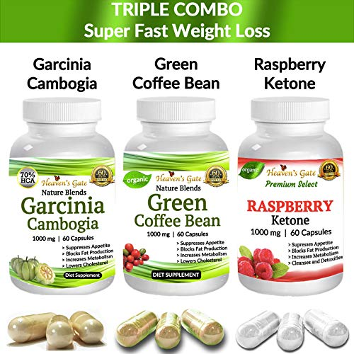 Fastest Weight Loss - Garcinia Cambogia - Green Coffee Bean - Raspberry Ketone - 1000 mg Capsules - 100% Pure - Organic - GMO and Gluten Free - 180 Capsules - Free USA Shipping