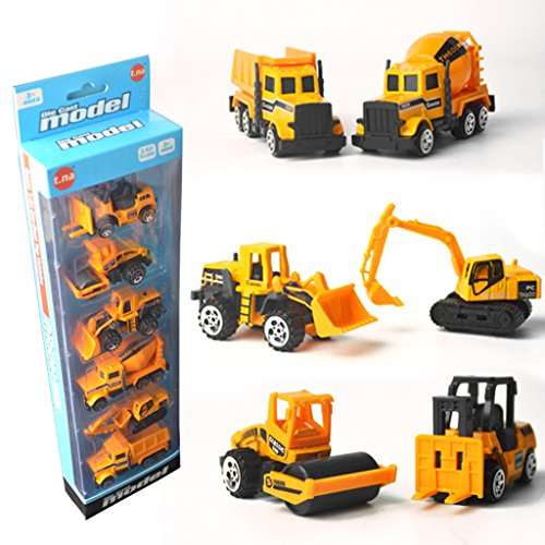 (Cencity Construction Vehicles, Pull Back Toy Cars Excavator Dump Truck Model Kit Children Toddlers Kids, Mini Alloy Engineering Toys Party Favors Cake Decorations Topper Birthday Gift- 6 Types)