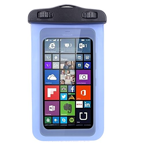 Universal Protective Waterproof Bag / Pouch / Cover / Case for Nokia Lumia 640/ 920 / 635 / BLU Win HD / W510L with Responsive Screen Protector Windows and Strap Fit up to 5.5 Inch Ios Windows Android Smart Phone (Blue) by SumacLife