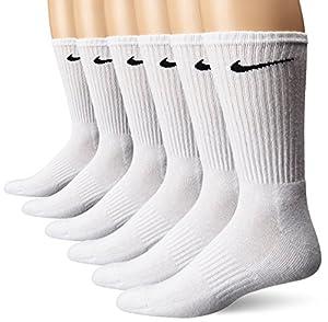 NIKE Unisex Performance Cushion Crew Socks with Band (6 Pairs), White/Black, Large