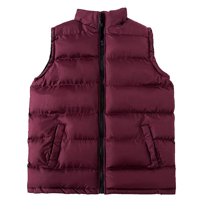 3d35bd228a2 MADHERO Mens Winter Puffer Vest Outdoor Quilted Vest Sleeveless Outerwear  Jacket(Claret