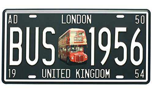 LONDON BUS 1956 UNITED KINGDOM Vintage Auto License Plate, Embossed Tag Size 6