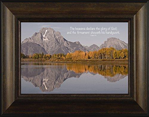 Handywork By Todd Thunstedt 20x26 Psalms 19:1 Grand Teton National Park Yellowstone Old Faithful Oxbow Bend Jackson Lodge Water Galilee Religious Bible Verse Quote Framed Art Print Wall Décor Picture