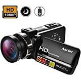 2018 HD 1080P Night Vision Infrared Camera Camcorder, Remote Control Handy Cameras, 24MP 16X Digital Zoom Video Recorder with Wide Angle Lens & External Microphone Jack
