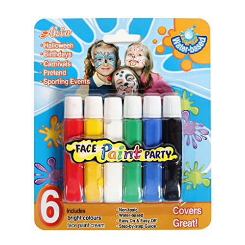 Amazing Washable 6 Bright Colored Face Paint Party Makeup