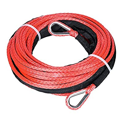 """Astra DepotS 1/4"""" 50ft Winch Extension Synthetic Winch Rope Winch Cable ATV Winch Line with Stainless Steel Thimbles"""