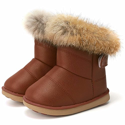 CIOR Fantiny Toddler Girl's Winter Snow Boots Fur Outdoor Slip-on Warm Boots,TXA-88-brown-25