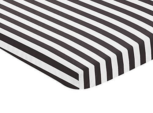Sweet Jojo Designs Black and White Stripe Baby Fitted Mini P