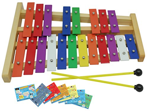 D'Luca TL25D 20 Notes Full Chromatic Xylophone Glockenspiel with Music Cards by D'Luca