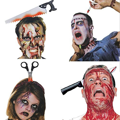 Halloween Headband, 4PCS Bloody Headpieces Headwear Cleaver Through Head Bleeding Knife Headband Accessories Horrible Dress-up Costume  Funny Prop Halloween (Halloween Hair Band)