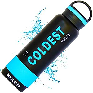 The Coldest Water Sports Bottle Insulated Stainless Steel Hydro Thermos, Black, 21 Ounce