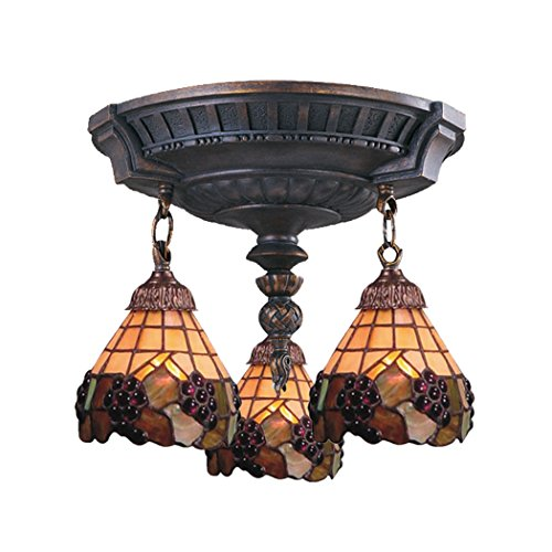 Alumbrada Collection  Semi Flush In Aged Walnut  Stained Glass
