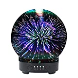 3D Aromatherapy Oil Diffuser, 100ml Essential Oil Ultrasonic Cool Mist Humidifier with 8 Color Changing LED Mood Lights(Round Shape)