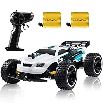 RC Racing Automotive, 2.4Ghz Excessive Velocity Distant Management Automotive, 1:18 2WD Toy Automobiles Buggy for Boys & Ladies with Two Rechargeable Batteries for Automotive, Reward for Youngsters (White)